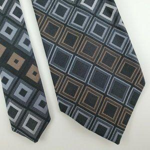 Kenneth Cole Reaction Black Geometric Silk Tie